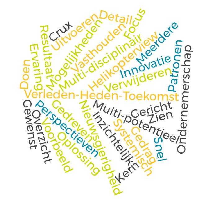 Verleden-Heden-Toekomst Multi-disciplinair Nieuwsgierigheid Multi-potentieel Ondernemerschap Helikopterview Perspectieven Mogelijkheden Inzichtelijk Verwijderen Systemisch Vasthouden Innovatie Resultaat Voorbeeld Overzicht Oplossing Uitvoeren Gedreven Ervaring Meerdere Patronen Gewenst Gericht Gedrag Detail Focus Zien Doen Crux Snel Kern